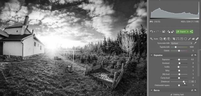 Jak na černobílou fotografii: finální doladění pomocí nástrojů Expozice.