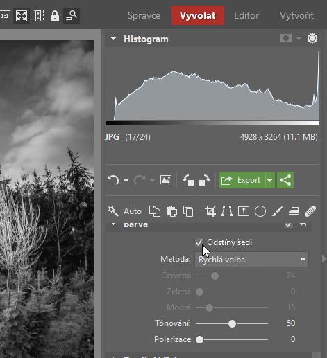Jak na černobílou fotografii: Odstíny šedi ve Vyvolat v Zoner Photo Studiu.