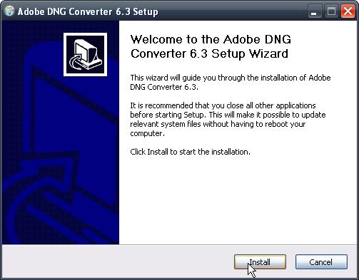 Instalace programu Adobe DNG Converter