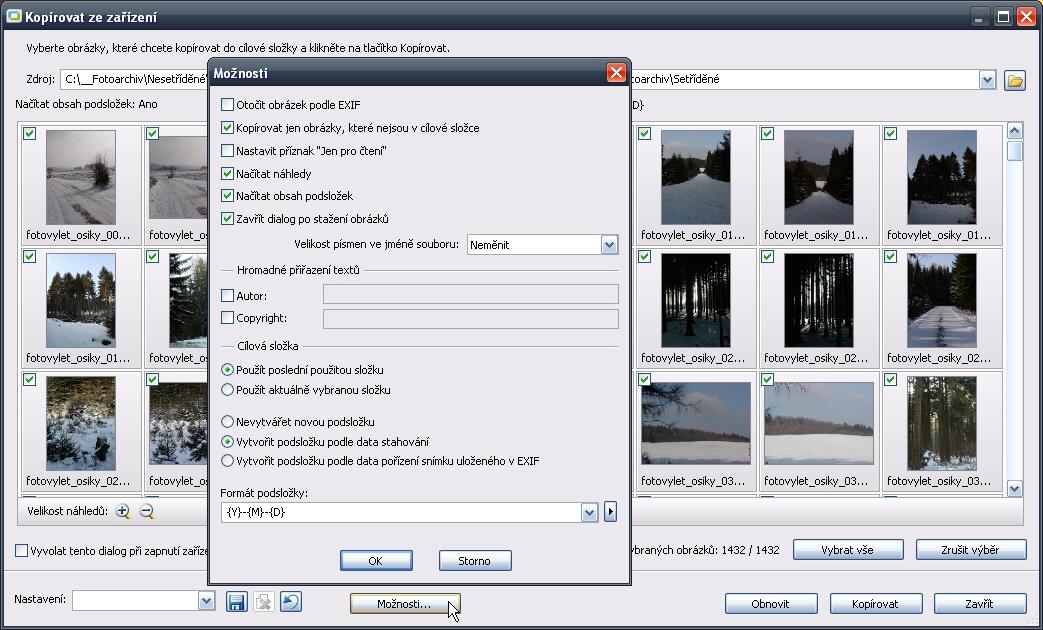 Dialogové okno funkce Kopírovat ze zařízení