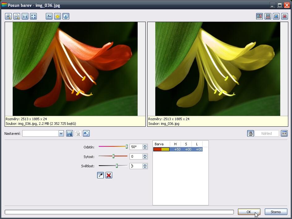 Dialogové okno Posun barev - úprava vybrané barvy.jpg