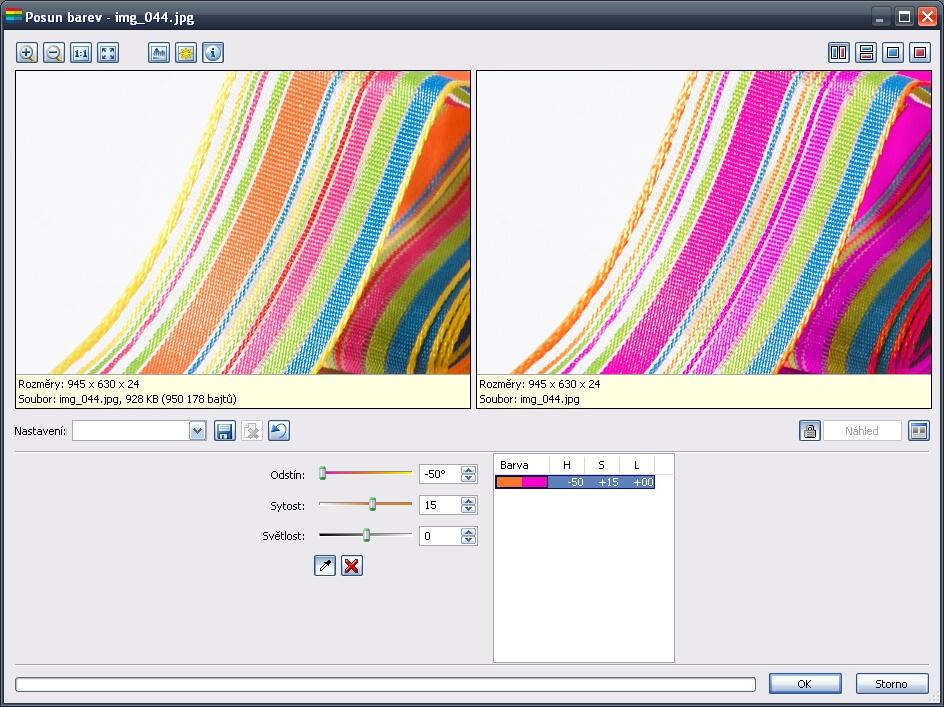 Dialogové okno Posun barev - pouze jedna barva v seznamu barev.jpg