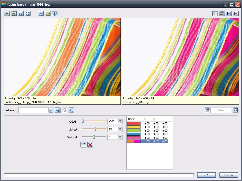 Dialogové okno Posun barev - více barev v seznamu barev a pouze jedna upravená.jpg