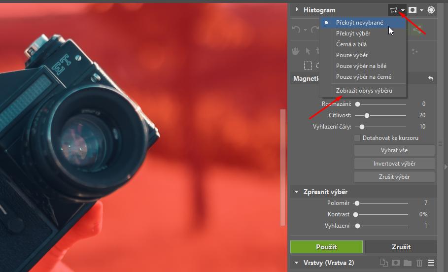 Jak vložit fotku do fotky - zpřesnění výběru