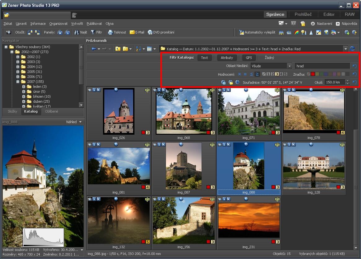 Zoner Photo Studio 13 - uživatelské prostředí sFiltrem Katalogu