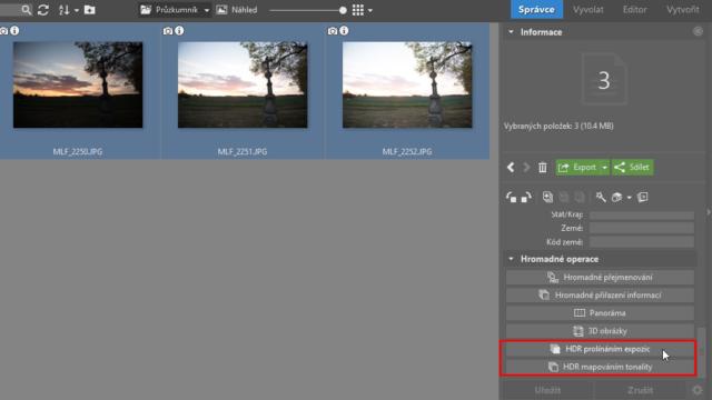 HDR fotografie: výběr funkce pro vytvoření HDR snímku.
