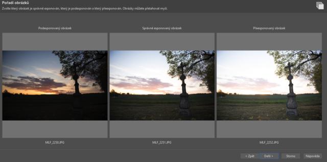 HDR fotografie: možnost opravit pořadí snímků.