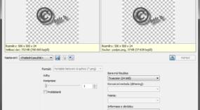 Nastavení průhlednosti a komprese při přidávání podpisu na fotografii.