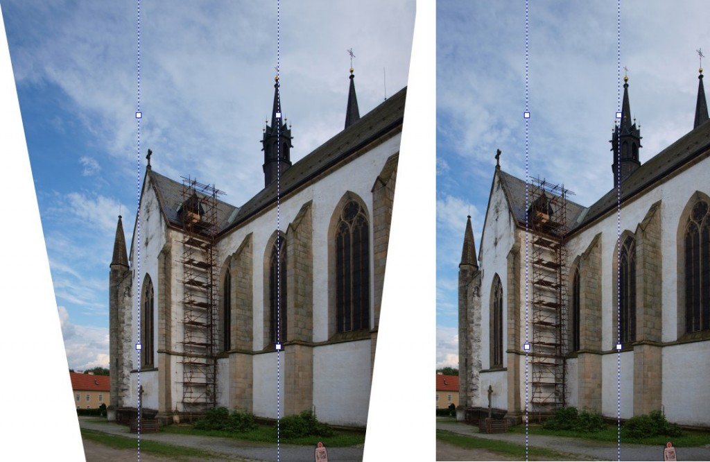Snímek po použití nástroje - vlevo bez automatického ořezu, vpravo s ním