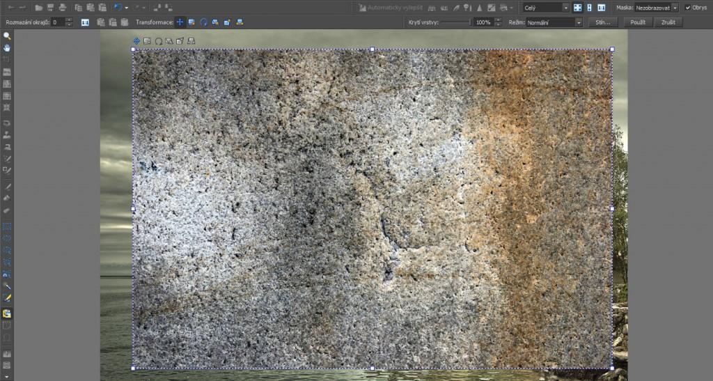 Vložení obrázku s texturou do fotografie