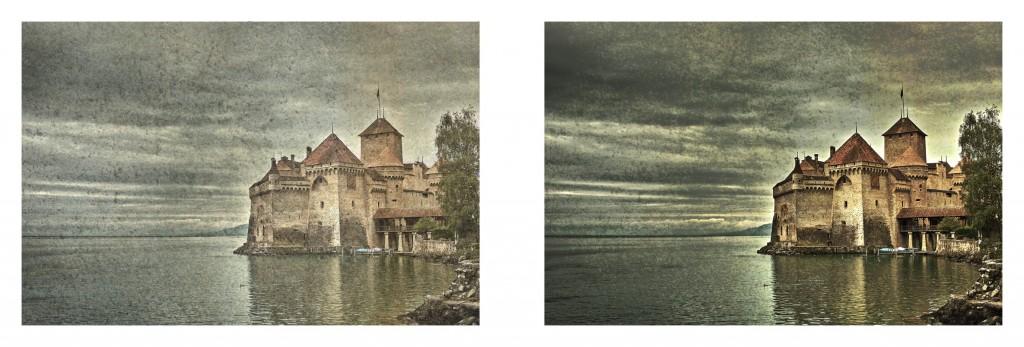 Vlevo snímek při režimu zesvětlit, vpravo pak při režimu ztmavit barvy