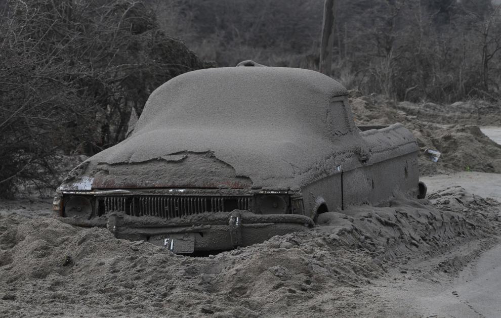 Chilská krajina pokrytá popelem