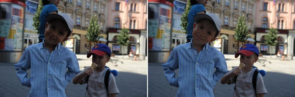 Vlevo snímek před úpravami, vpravo pak po úpravách
