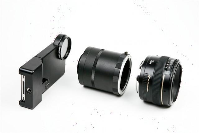 iPhone adaptér pro Canon a Nikon objektivy