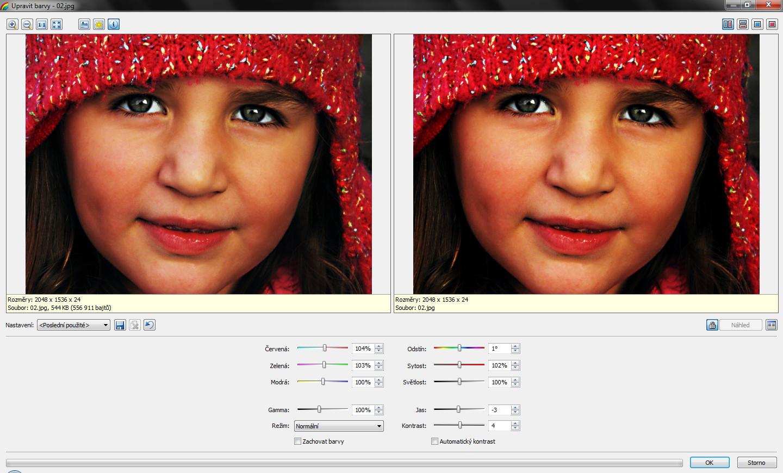 Mírnou úpravou barev zvýrazníme červenou čepici