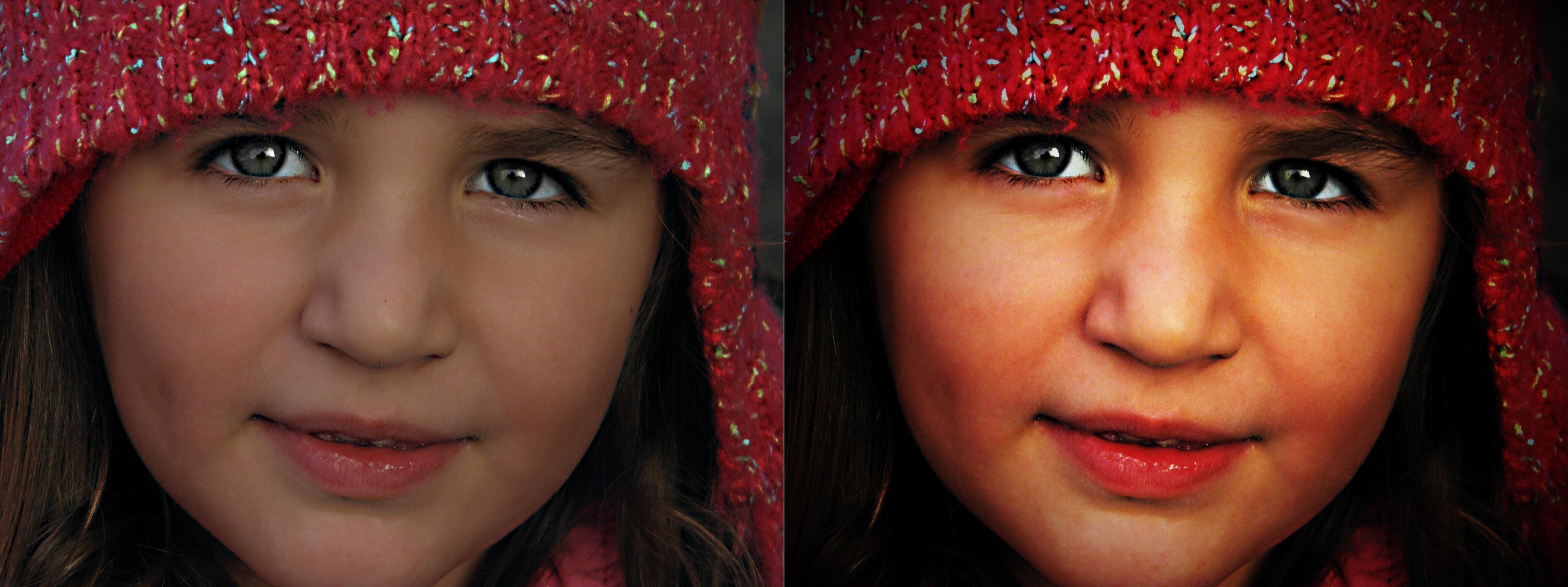 Vlevo původní, vpravo pak upravený snímek