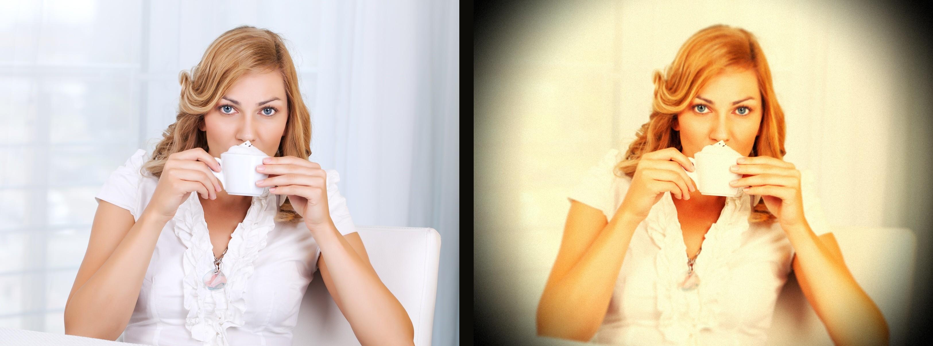 Vlevo původní snímek, vpravo snímek po aplikaci filtru