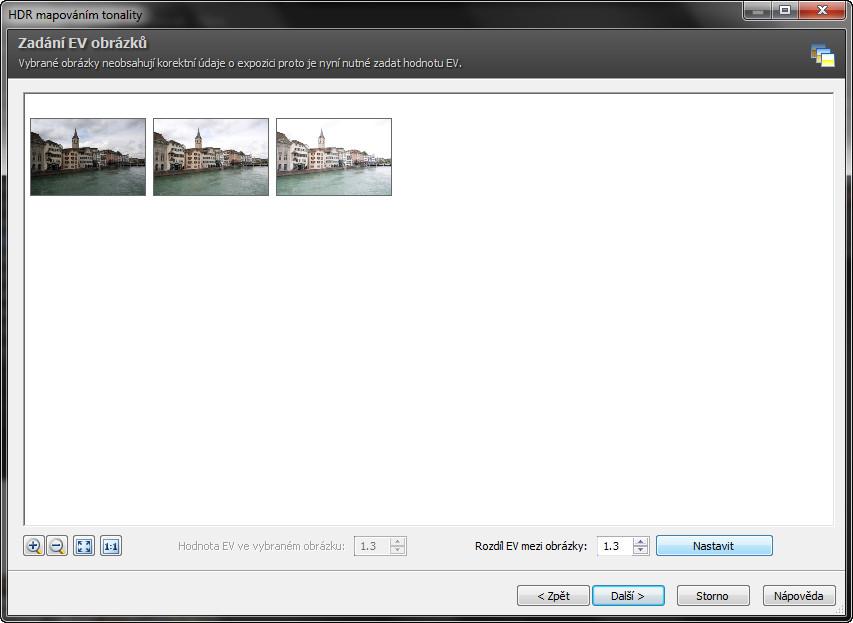 Okno s výběrem fotogafií pro úpravu
