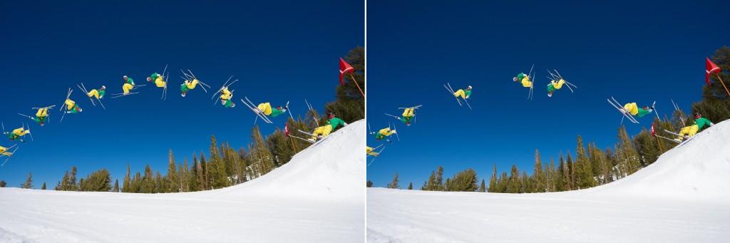 Opět na snímku vpravo vyretušovány tři pozice pohybu - na zdrojovém snímku byly vytvořeny tři výběry