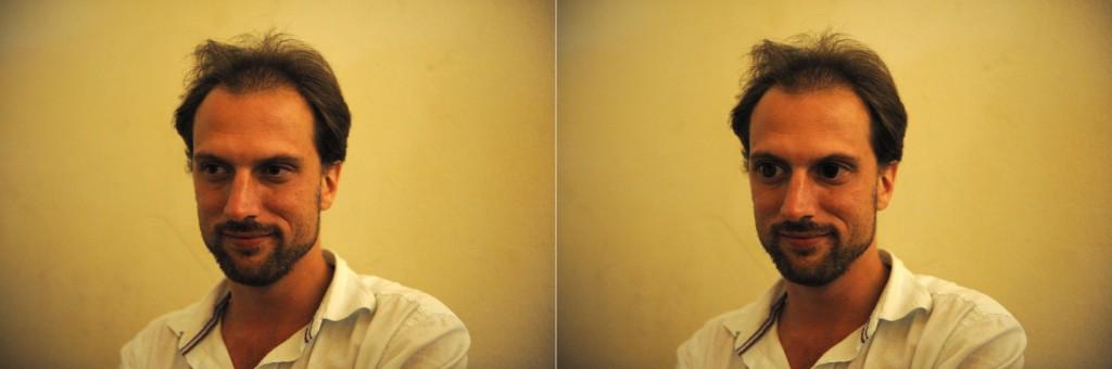Vlevo původní snímek, vpravo po použití volné deformace