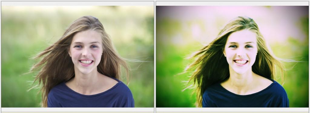 Vlevo původní snímek, vpravo po digitálním cross processingu