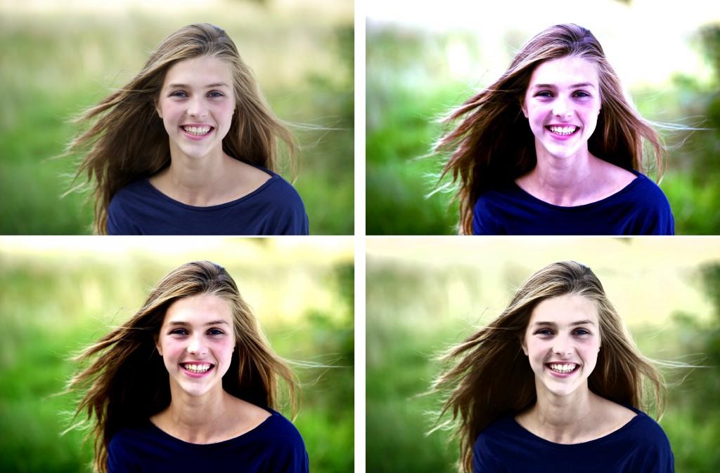 vlevo nahoře původní snímek, vpravo nahoře použití Levels, vlevo dole volba Contrast a vpravo dole pak Luminosity