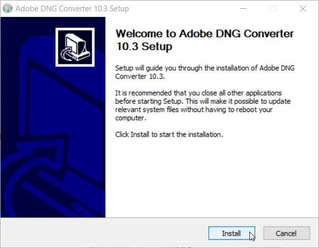 Jak propojit DNG converter se ZPS: instalace konvertoru.