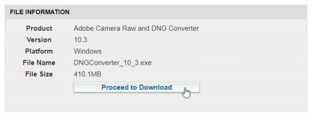 Jak propojit DNG converter se ZPS: stažení konvertoru.