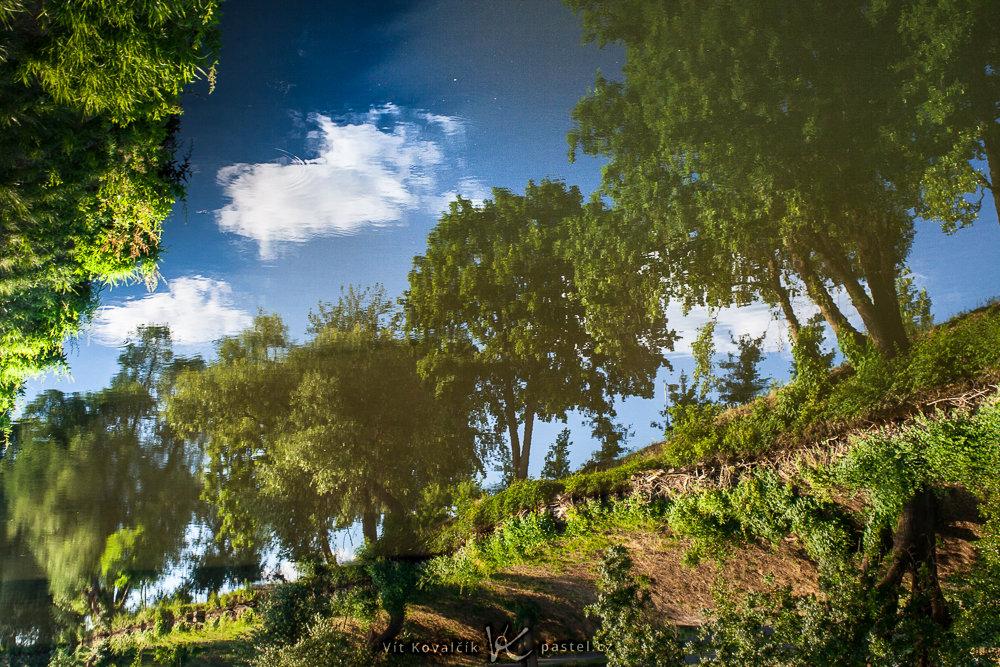 Důraz na odraz způsobuje, že se scéna zdá vyfocená z bodu mnohem nižšího, než jsou stromy. Canon 350D, Macro-Revuenon 24/4, 1/40 s, asi F8, ISO 100, ohnisko 24 mm