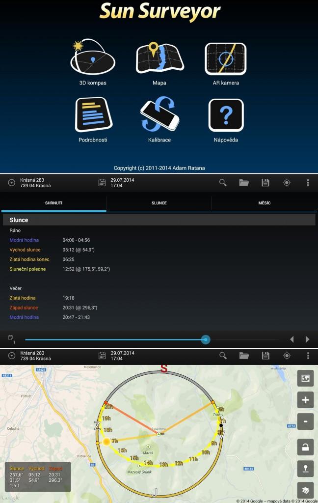 Sun Surveyor, úvodní obrazovka, podrobnosti, mapa