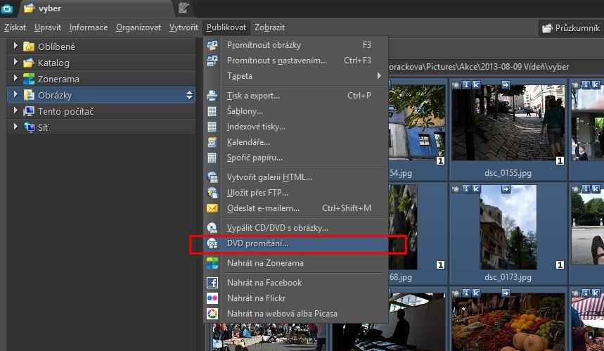 Průvodce tvorbou prezentačního DVD najdete v položce menu Publikovat.jpg