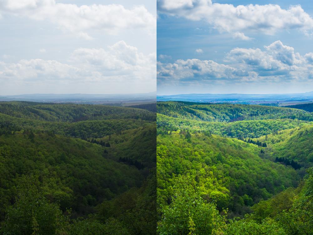 """Upravená a """"surová"""" fotografie jarních kopců. Canon 7D, Sigma 30/1.4, 1/60 s, F9, ISO 100, ohnisko 30 mm"""