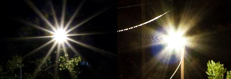 Různý tvar hvězdiček kolem světelných zdrojů. Vlevo objektiv Sigma 18-50/2.8 (7 lamel), vpravo Canon EF-S 10-22/3,5-4,5 (6 lamel).jpg