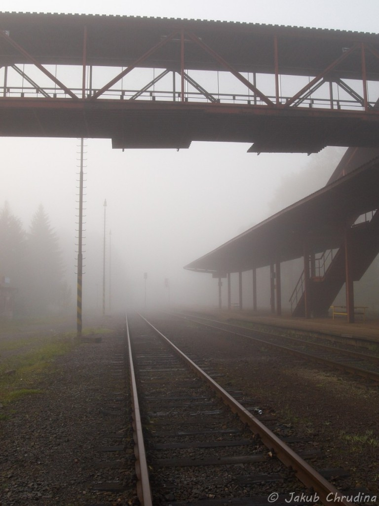 Mlha na nádraží. Olympus E-420, Olympus ZUIKO 17.5-45mm/ 3.5-5.6, ohnisko 17.5mm ISO 400, f 11, 1/160s