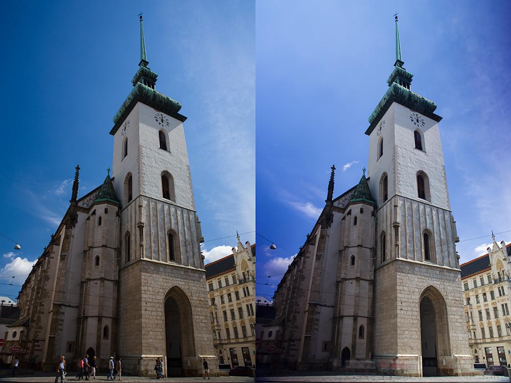 Kostel focený pomocí polarizačních filtrů.