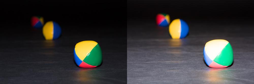Míčky jsou ve vzdálenostech 1, 2 a 3 metry od fotoaparátu, v místnosti je tma. Pokud blesk osvítí první míček, pak další dva jsou poměrně tmavé. Když zvýšíme výkon blesku čtyřikrát, osvětlí se správně druhý míček, ale první je tím pádem přesvětlený. Canon 5D Mark III, Canon EF 70-200/2.8 IS II, 1/200 s, F16, ISO 200, ohnisko 150 mm