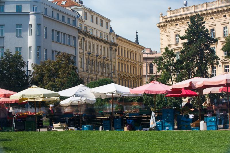 Trh vyfocený se dvěma polarizačními filtry.