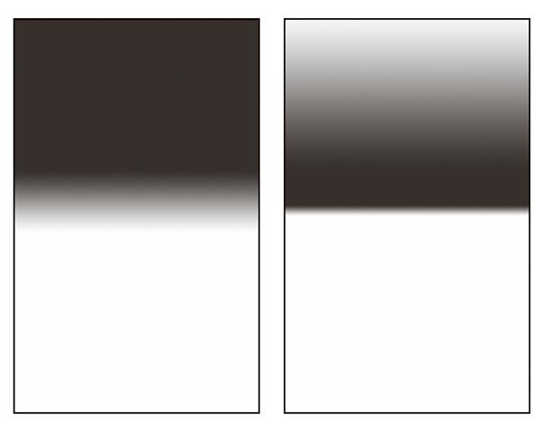 Srovnání přechodového a reverzního přechodového filtru. Obrázek je jen ilustrační, každý výrobce vyrábí lehce odlišné typy přechodů.jpg