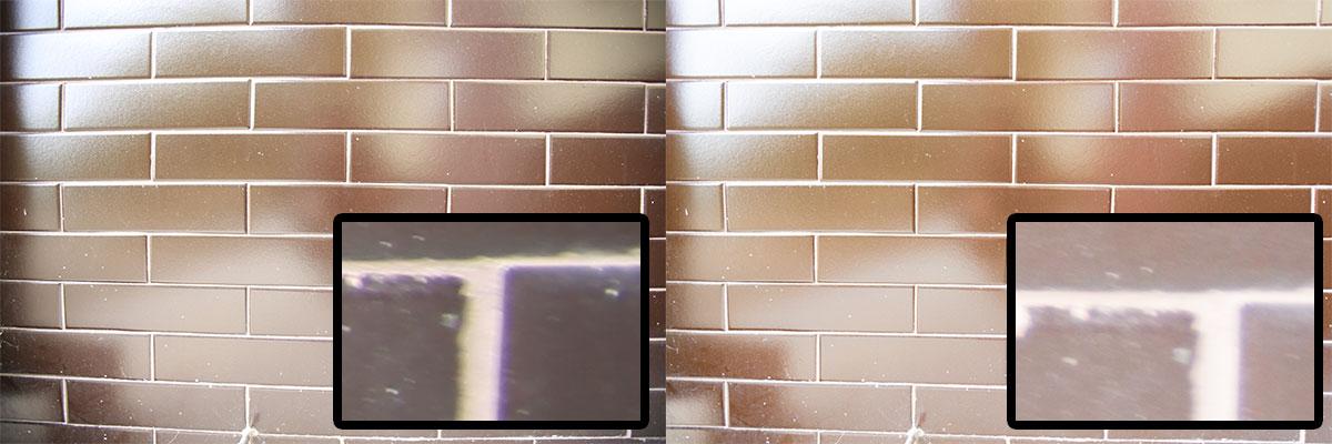 JPEG vlevo a RAW s automatickými korekcemi vpravo. V detailu vždy výřez z pravého dolního rohu.jpg