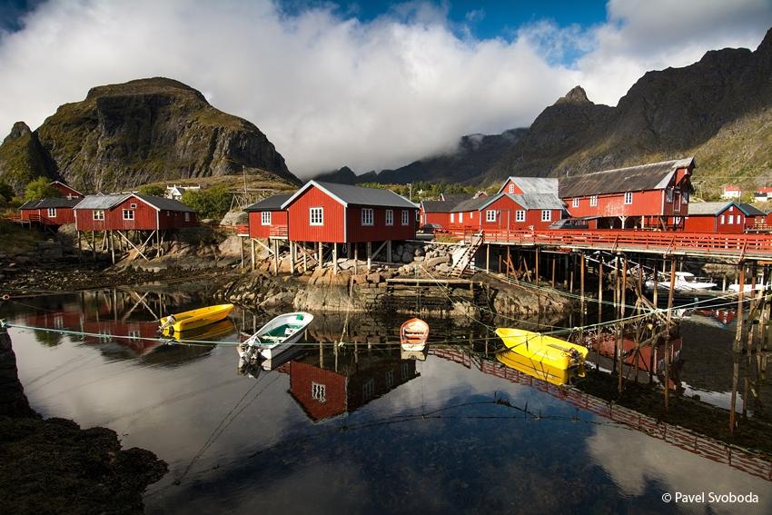 Červené rybářské domky, Lofoty, Norsko