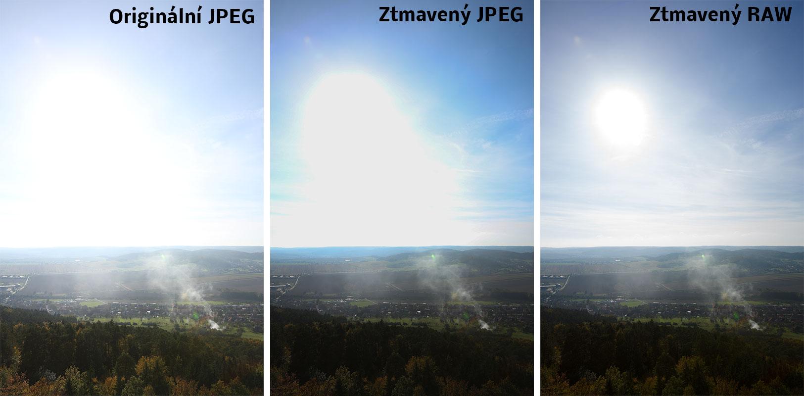 Identická fotografie ve dvou souborech – JPEG a RAW – pořízených jedním stiskem spouště. Pokud zkusíme ztmavit oblohu (konkrétně zde o cca 1,39 EV) u JPEGu, dostaneme jen jednobarevnou plochu. RAW dovolí ztmavovat mnohem víc, i když i tam později narazíme na limity. Canon 5D Mark III, Canon EF 16-35/2,8 II, 1/125 s, F8,0, ISO 160, ohnisko 27 mm
