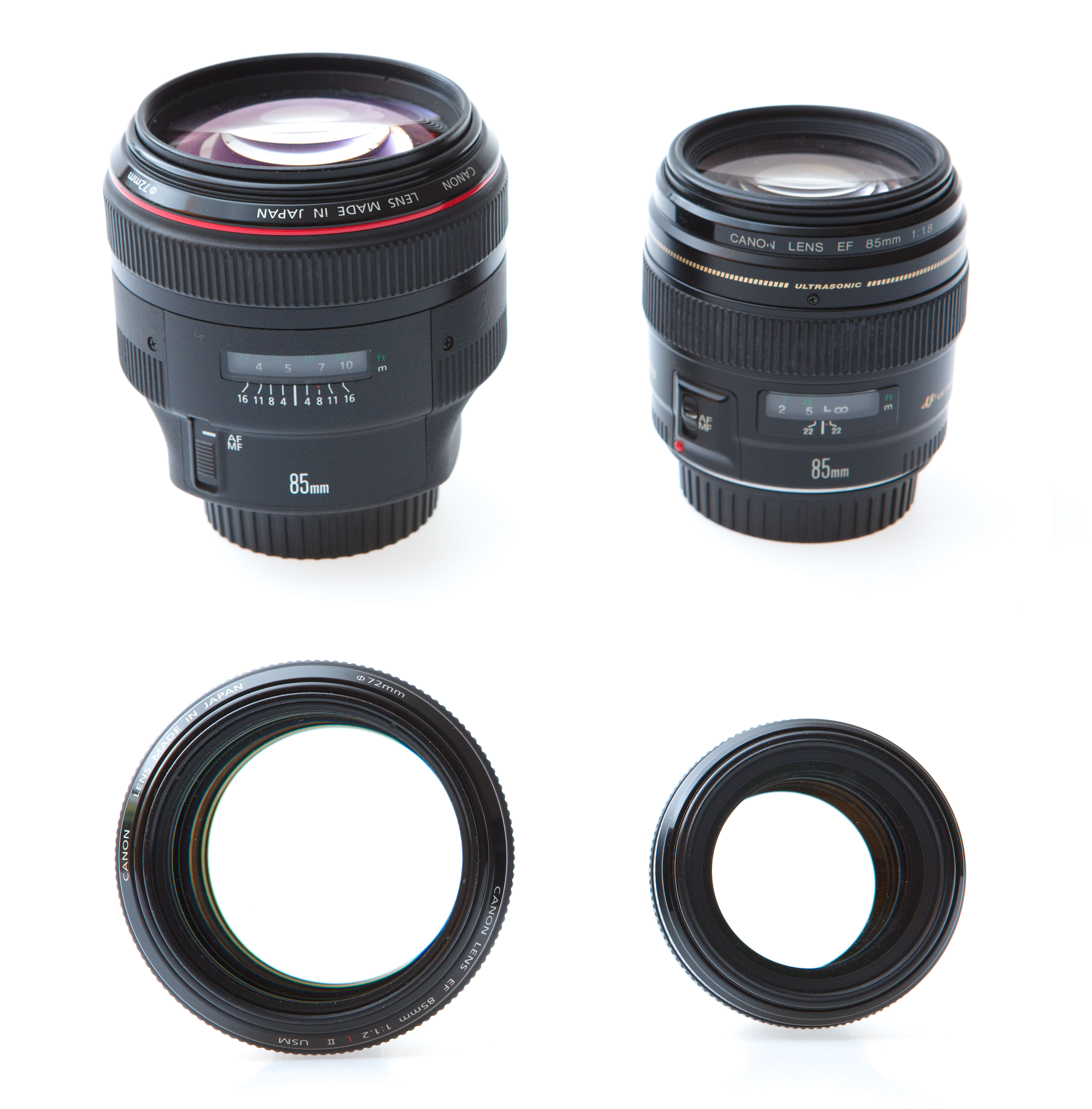 Vlevo Canon EF 85/1,2 II a vpravo Canon EF 85/1,8