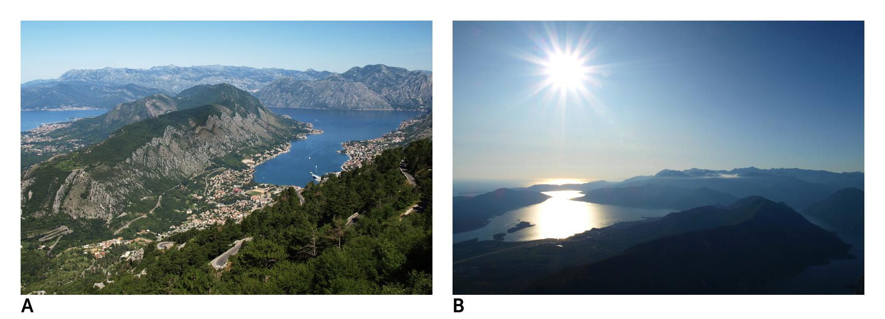 Dvakrát Boka Kotorska (foceno z různých stanovišť). Obojí Olympus E-510, objektiv 14-42 mm. Vlevo: 1/160 s, F7.1, ISO 100, ohnisko (EQ35) 28 mm, vyfoceno 27. července v 10.37. Vpravo: 1/60 s, F20, ISO 100, ohnisko (EQ35) 28 mm, vyfoceno 27. července v 18.34. Obojí upraveno v ZPS, po ořezu.