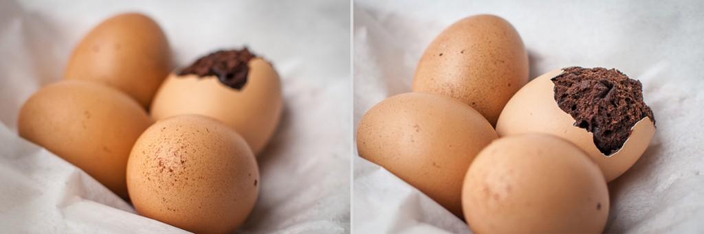 Na začátku to vypadá jako obyčejná vajíčka, jen v pozadí fotografie je nějaké pokažené. Proč je hnědé? Aha! Stačí zaostřit na oloupané vejce a vykoukne na vás neobvyklý obsah v podobě čokoládového brownies. Nikon D60, Nikkor 35mm/1.8, ISO 200, 1/320 s, F4.3, ohnisko 35 m