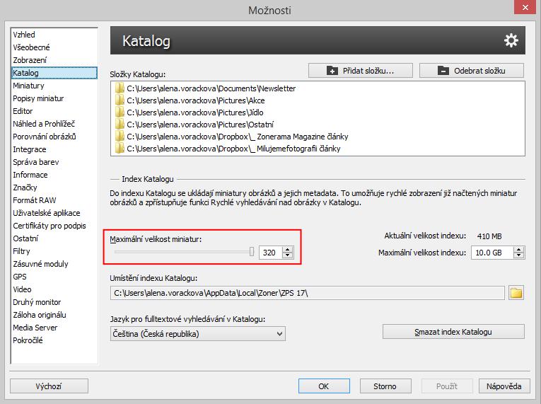 V nastavení Katalogu si můžete přizpůsobit i maximální velikost náhledů zobrazených ve Správci.jpg