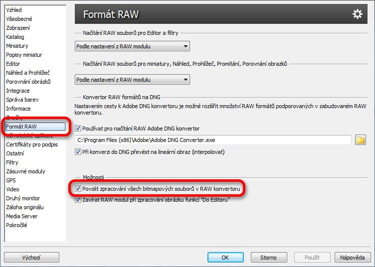 Nastavení možnosti zpracovávat jpeg soubory v modulu RAW