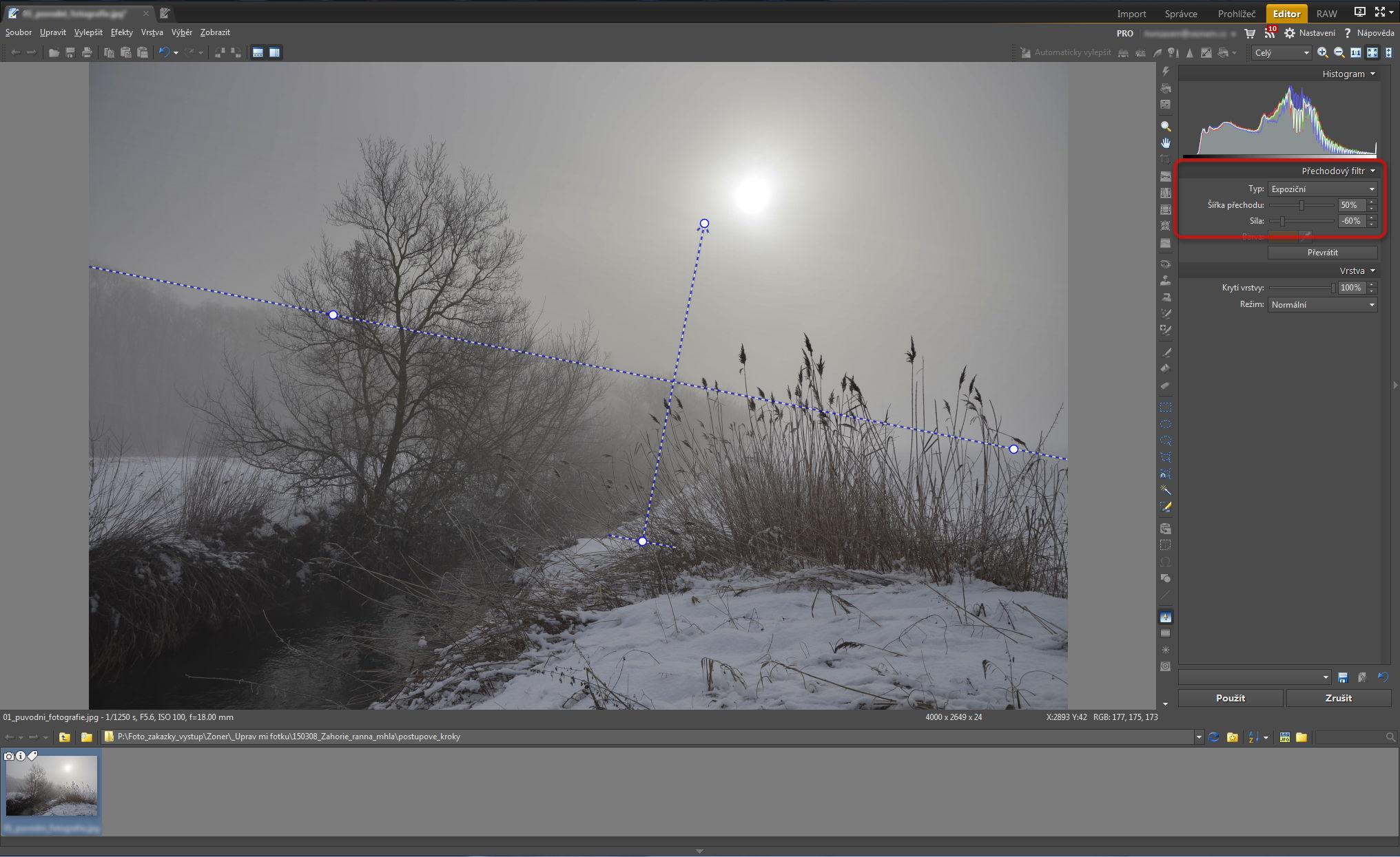 Vyrovnání jasu oblohy s jasem popředí pomocí přechodového filtru