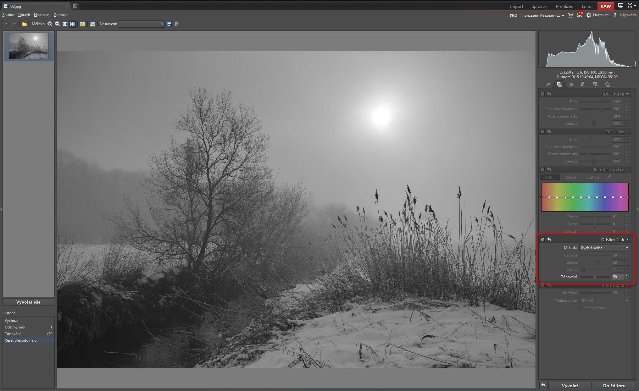 Převod fotografie do černobílé v prostředí modulu RAW