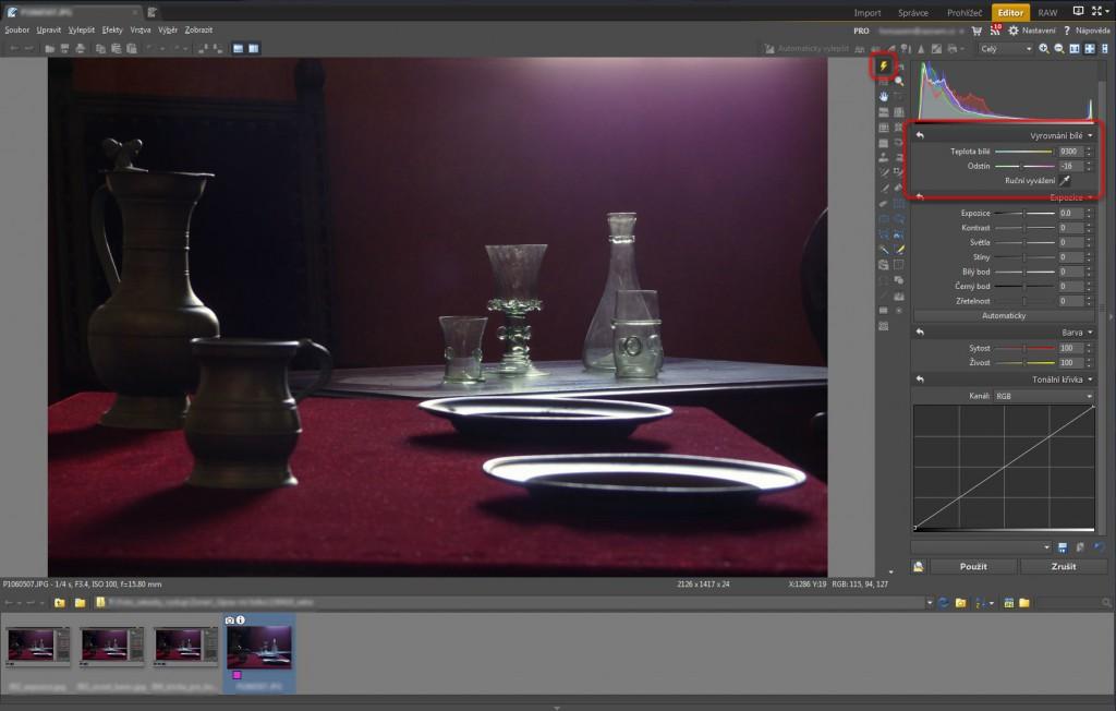 Nastavení Vyrovnání bílé pro odstranění modrého odstínu z fotografie v nástroji Rychlé úpravy (Q)