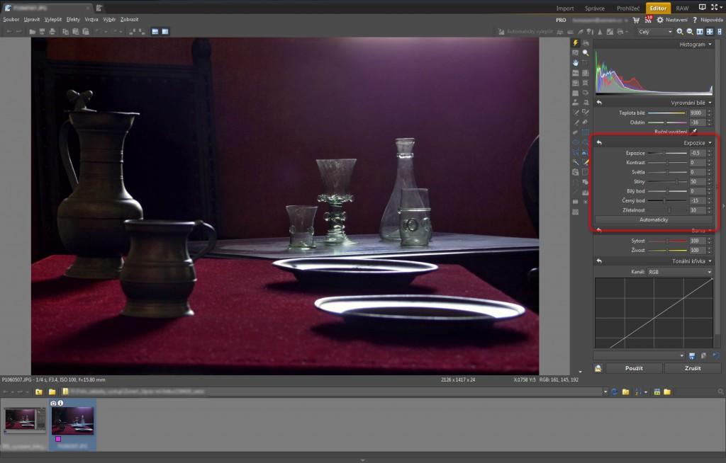 Úprava expozice pro zvýraznění motivu v nástroji Rychlé úpravy (Q) bez ovlivnění celkové tonality fotografie